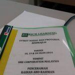 Etiket Sosial Dan Protokol Bermajlis | SME Corporation |18-20 Ogos 2014