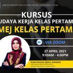 <b>Kursus Imej Kelas Pertama</b> Jabatan Pendaftaran Negara Negeri Johor pada 27 April 2021