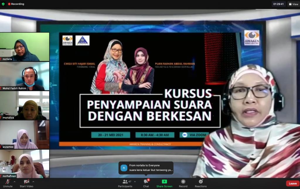 Kursus Penyampaian Suara Dengan Berkesan Akademi Percukaian Malaysia LHDN pada 20 – 21 Mei 2021